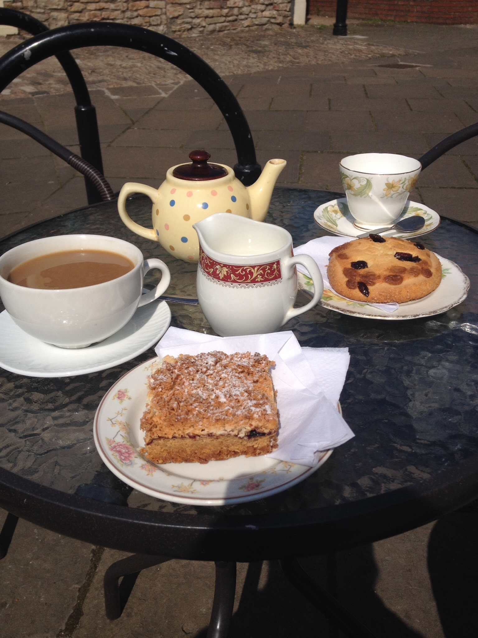 Enjoying drinks and cakes outside Donnies Cafe, Magor