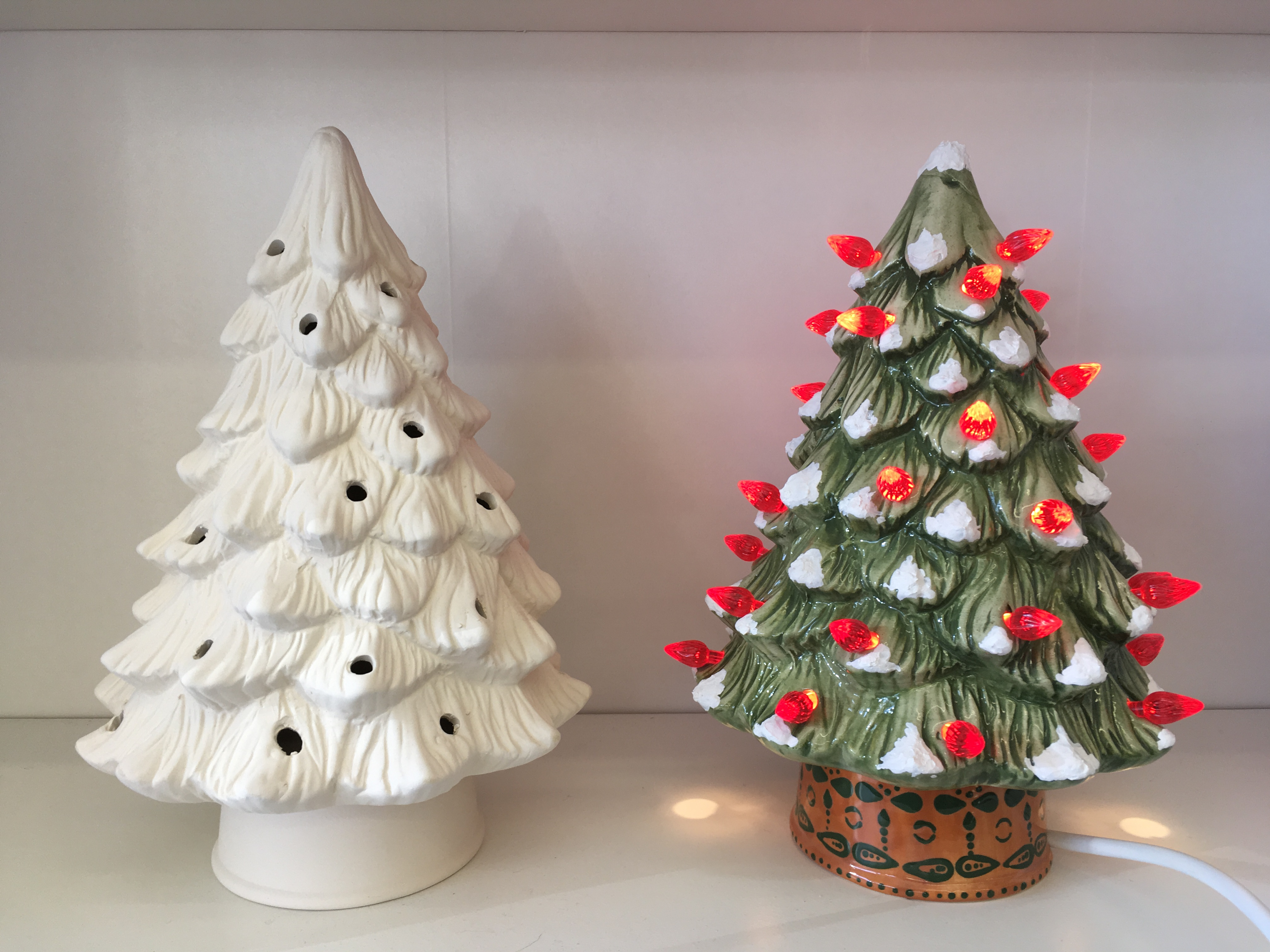 Pottery Christmas Tree lamps
